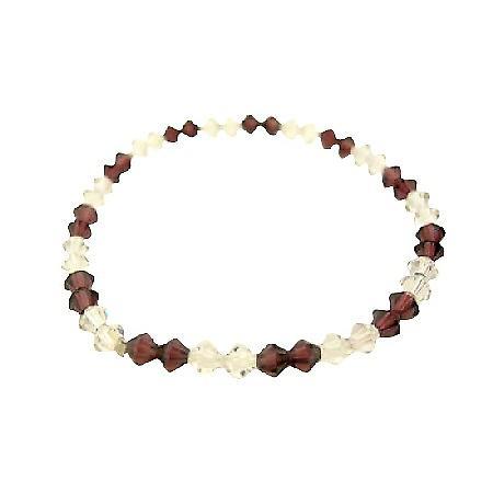 Swarovski Crystals Jewelry Amethyst & AB Crystals Stretchable Bracelet