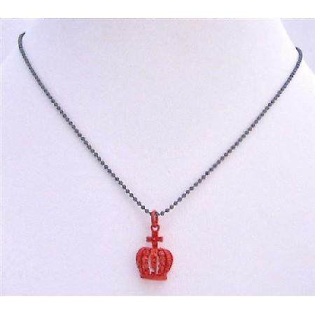 Crown Pendant Necklace Shimmering Red Crown w/ Red CZ Pendant Necklace