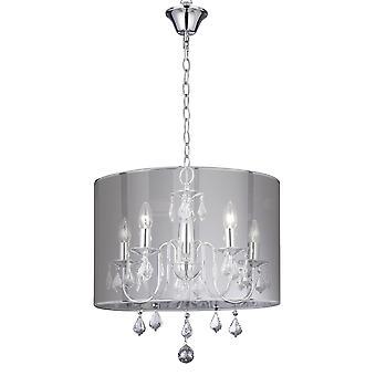 Vénitienne Chrome et cristal cinq lumière plafonnier avec abat-jour - projecteur 4805-5CC