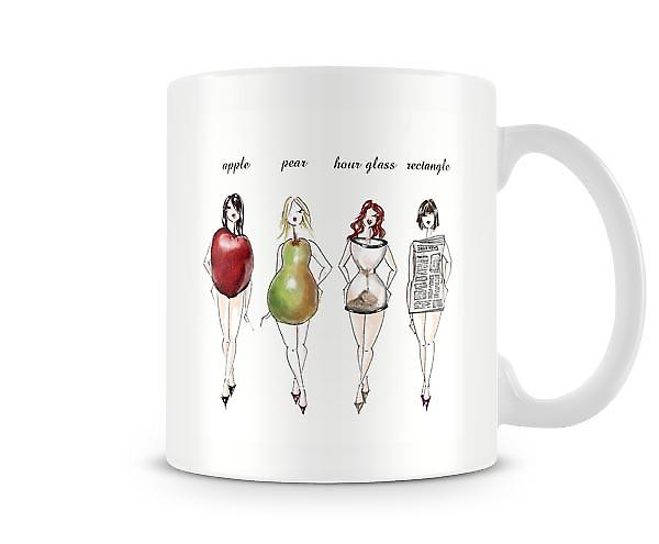 Women Figure Apple Pear Hourglass Rectangle Mug