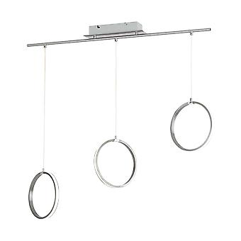Eglo - Tamasara LED-Decke-Anhänger In Satin-Nickel und weißen Finish kreisförmigen Ringen EG96817