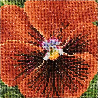 Pansy V On Aida Counted Cross Stitch Kit-3.75
