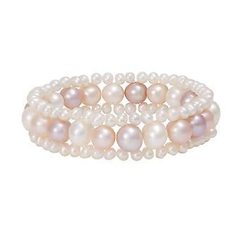 Eternal Collection Genteel Multi Colour Freshwater Pearl Stretch Bracelet