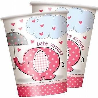 Disposable Party Paper Cups/Glasses Cute Baby Pink Elephant Baby Shower 30/Pack - (SC41656)
