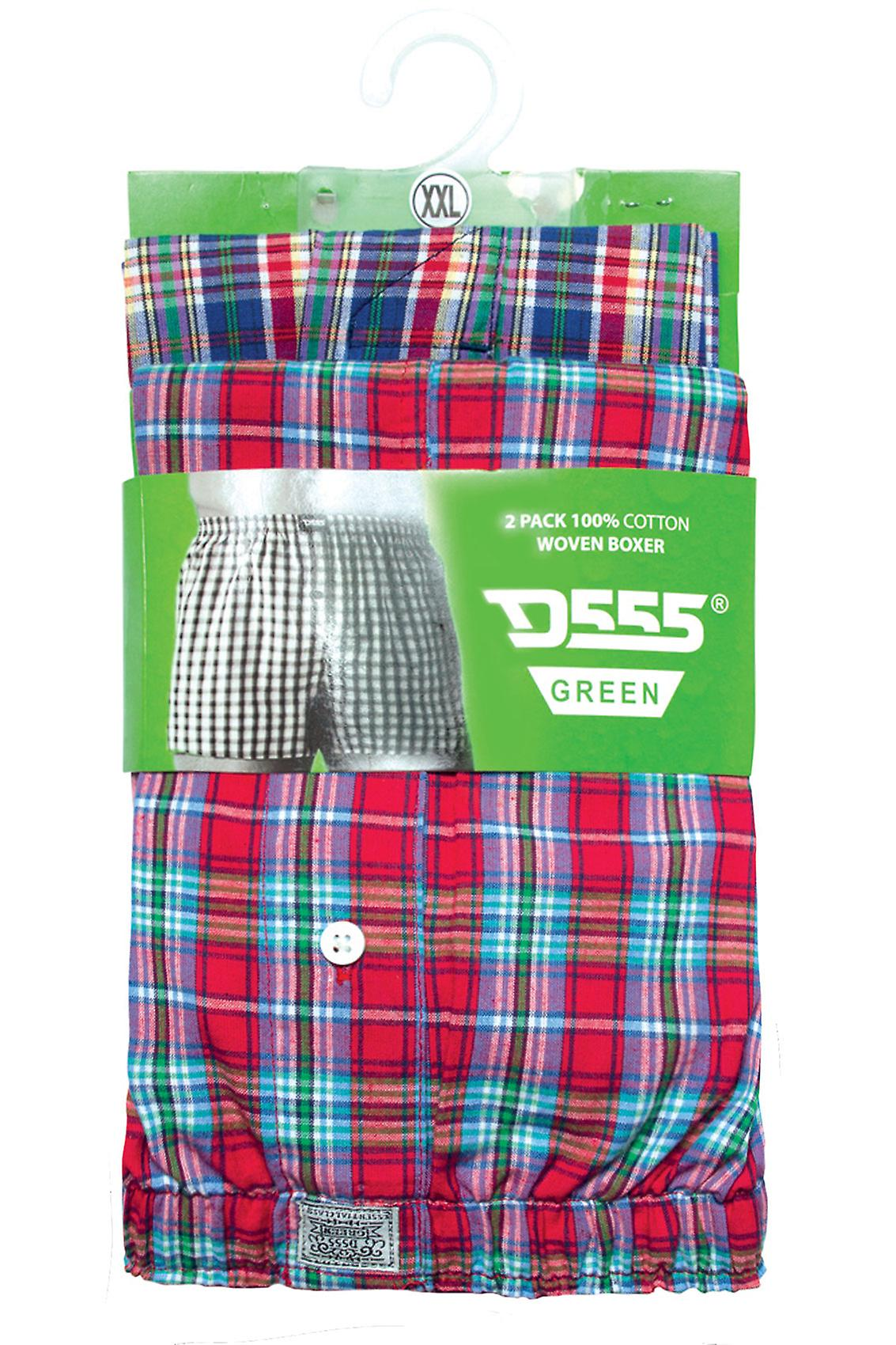 D555 2 PACK Check Boxer Shorts