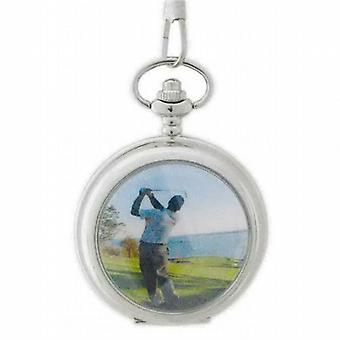 Tono argento riflesso golfista Gents Pocket Watch 141067SP