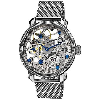 Akribos XXIV Men es Stainless Mechanical Skeleton Mesh Armband Watch AK526SS
