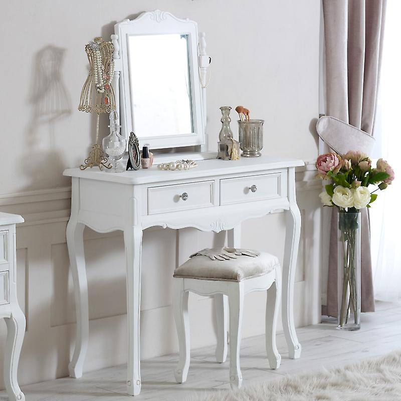 Robeing Table, Mirror and Stool - Elise blanc Range