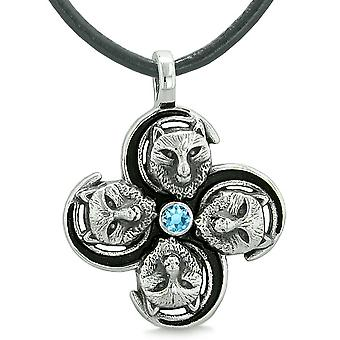 Supernatural Wolf Courage Powers All Forces of Nature Amulet Sky Blue Crystal Pendant Leather Necklace