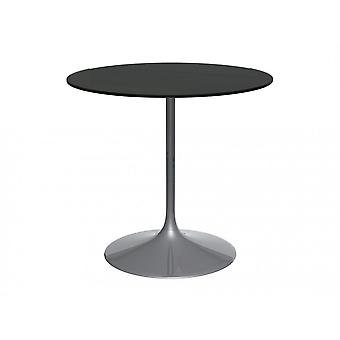 Gillmore Space Pedestal Medium Dining Table Black Glass And Smoked Chrome