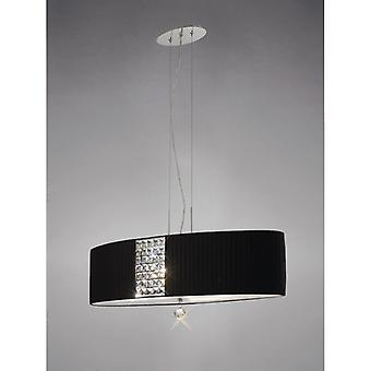Evelyn Pendant Oval With Black Shade 4 Light Polished Chrome/crystal