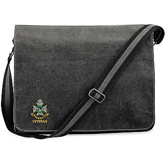 Sherwood Foresters Veterano - Concesso in licenza British Army ricamato Vintage Canvas Spedizione Messenger Bag