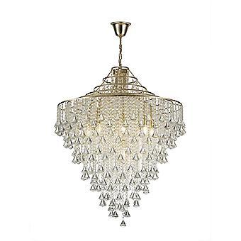 Diyas Inina Pendant 9 Light E14 French Gold/Crystal
