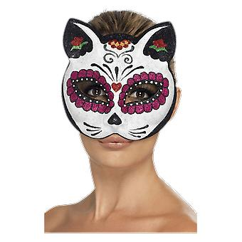 Smiffys suiker schedel kat Eye Mask dag van de dode Halloween fancy dress