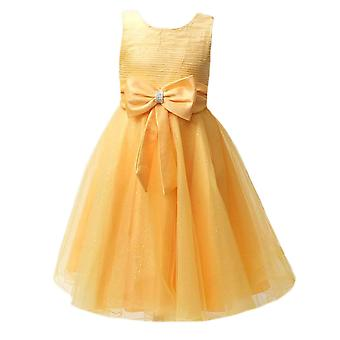 Girls Yellow Wedding, Party,Prom,Bridesmaid dress with a big bow