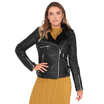 KRISP® Women Ladies PU Leather Biker Jacket Fur Lined Zipped Quilted Padded Winter Coat