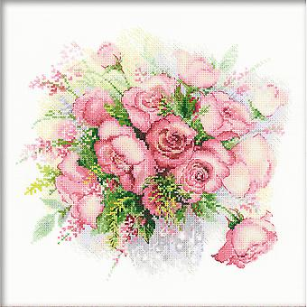 Watercolor Roses Counted Cross Stitch Kit 11.75
