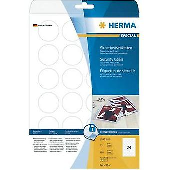HERMA Security labels A4 Ø 40 mm round white extra strong adhesion film matt 600 pcs. Herma 4234