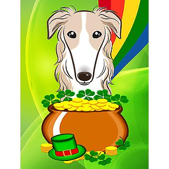 Borzoi St. Patrick's Day Flag Canvas House Size BB1972CHF