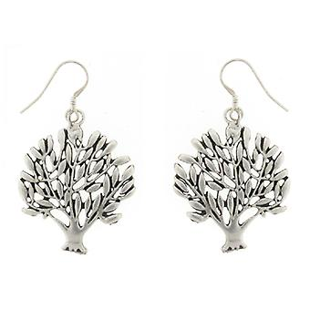 Large Silver Plated Versailles Tree of Life Drop Earrings