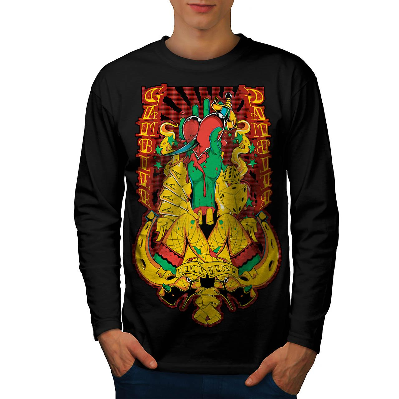 Gambler Luck Lust Sin Aces Card Men Black Long Sleeve T-shirt | Wellcoda