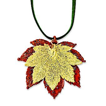 Iridescent Copper/24k Gold Dipped Double Full Moon Maple Leaf Necklace - 20 Inch