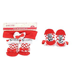 Baby Girls Cute I Heart Santa Festive Christmas Socks And Bow Headband Set