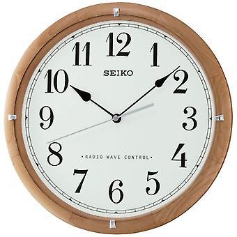 Seiko Radio gecontroleerde houten Wandklok - wit gezicht (QXR303Z)