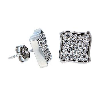 925 sterling silver MICRO PAVE earrings - WAVE 11 mm