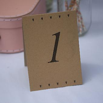 Kraft Wedding Table Numbers Hearts Top Table 1- 15 - Tent Fold Rustic Wedding (THESE ARE NOT WHITE)
