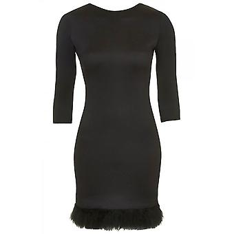 Ex Top Shop Feather Hem Bodycon Dress