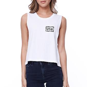 Mini USA Womens White Crop Tee Simple Design USA Printed Crop Top