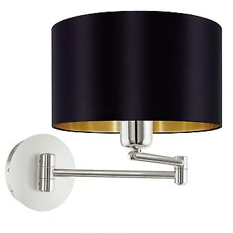 Eglo Maserlo 1 Light Switched Wall Light Glossy Black