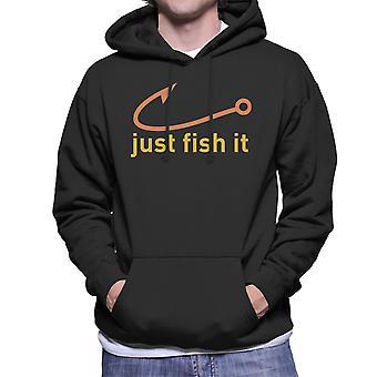 Just Fish It Nike Logo Yellow Men's Hooded Sweatshirt