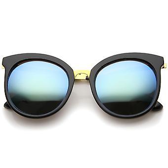 Womens Fashion Oversized  Mirrored Lens Round Cat Eye Sunglasses 56mm