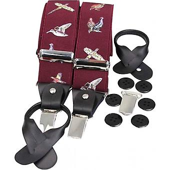 David Van Hagen Country Luxury Birds Braces - Wine Red