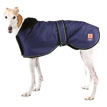 Ginger Ted Greyhound / Whippet / Lurcher Shower Waterproof Coat Navy with Warm Fleece Lining (All Sizes)