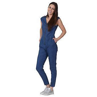 Womens Sleeveless Denim Jumpsuit Zip Front Lightweight  Playsuit onepiece