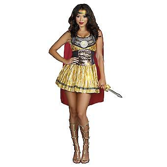 Golden Gladiator Spartan Xena Greek Roman Soldier Medieval Women Costume