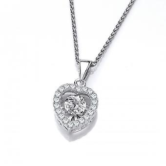 Cavendish French Silver and Dancing Cubic Zirconia Heart Pendant without Chain