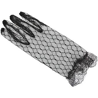 Short Black Lace Fancy Dress Gloves