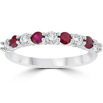 1 / 2CT Ruby & Diamond giftering 10K hvitt gull