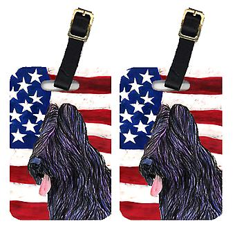 Carolines Treasures  SS4052BT Pair of USA American Flag with Briard Luggage Tags