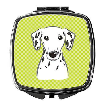 Carolines Treasures  BB1272SCM Checkerboard Lime Green Dalmatian Compact Mirror