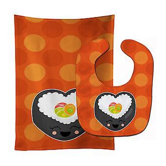 Carolines Treasures  BB8801STBU Heart Sushi Roll with Face Baby Bib & Burp Cloth