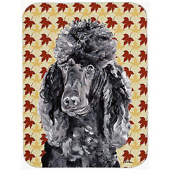 Black Standard Poodle Fall Leaves Glass Cutting Board Large Size