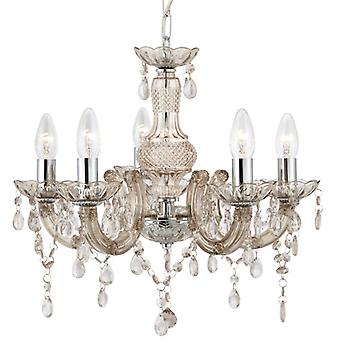 Marie Therese Mink Five Light Ceiling Light With Acrylic Crystals - Searchlight 1455-5mi