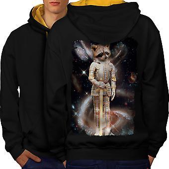 Racoon Hero Space Animal Men Black (Gold Hood)Contrast Hoodie Back | Wellcoda
