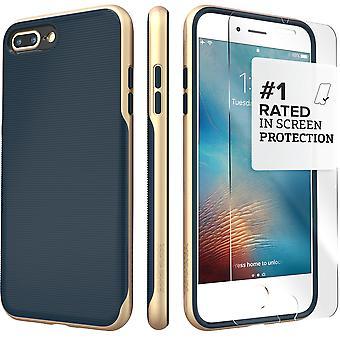 SaharaCase iPhone 8 Plus & 7 Plus azul caja de oro, tendencia protectora Kit paquete con ZeroDamage de cristal templado
