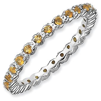 Sterling Silver Polished Prong set Patterned Rhodium-plated Stackable Expressions Citrine Ring - Ring Size: 5 to 10